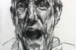 yawning-self-portrait-distressed-face-charcoal-on-canvas-board-9inches-x-7inches