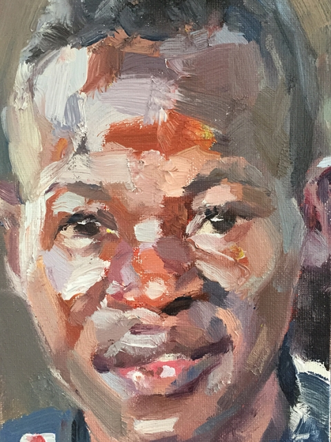 "'Sewa, nurse, Connaught Hospital, Ebola survivor', oil on canvas board, 7""x5"""