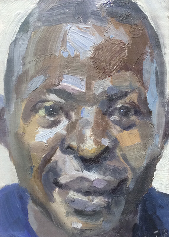 "'Mustapha, nurse, Isolation Unit, Connaught Hospital', oil on canvas board, 7""x5"""