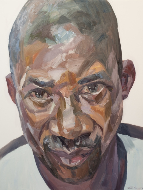 "'Ekundayo, senior security officer, Connaught Hospital', oil on canvas, 60""x48"""