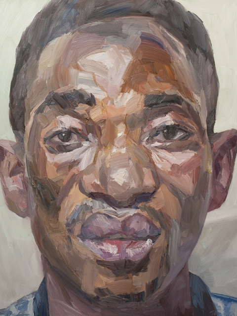 "'Victor, hygienist, Connaught Hospital', oil on canvas, 60""x48"""