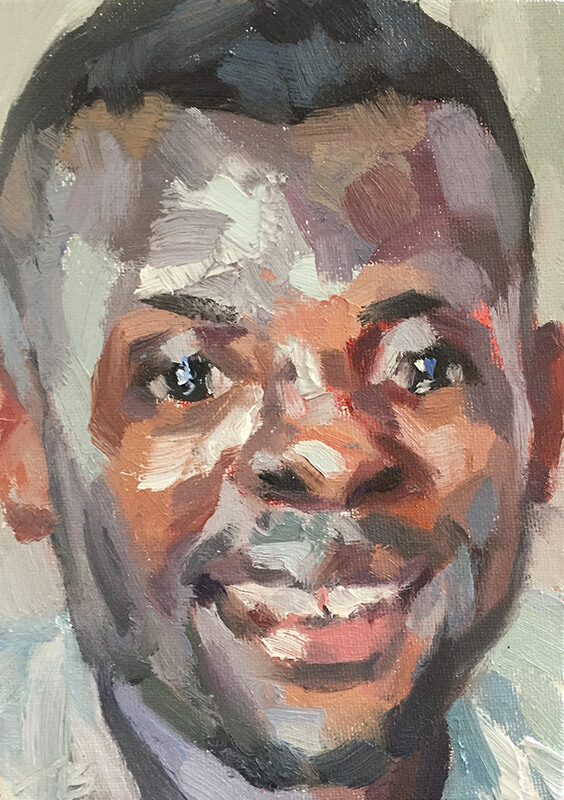 "'Mohamed, nurse, Isolation Unit, Connaught Hospital, Ebola survivor', oil on canvas board, 7""x5"""