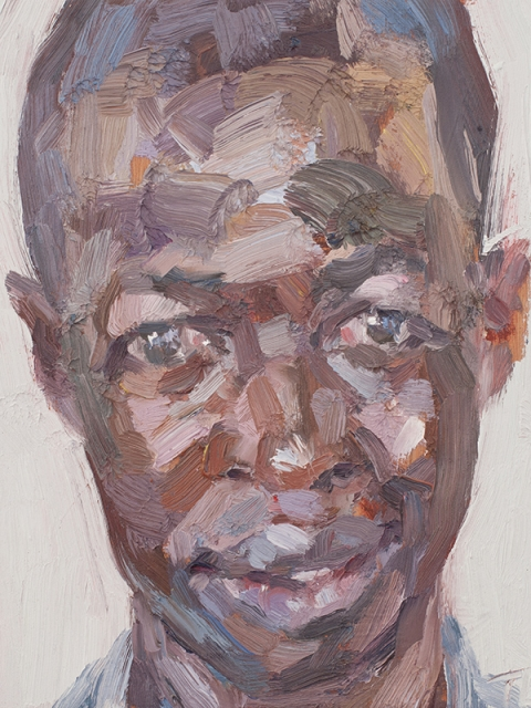 "'Mohammed, security officer, Isolation Unit, Connaught Hospital', oil on board, 12""x10"""