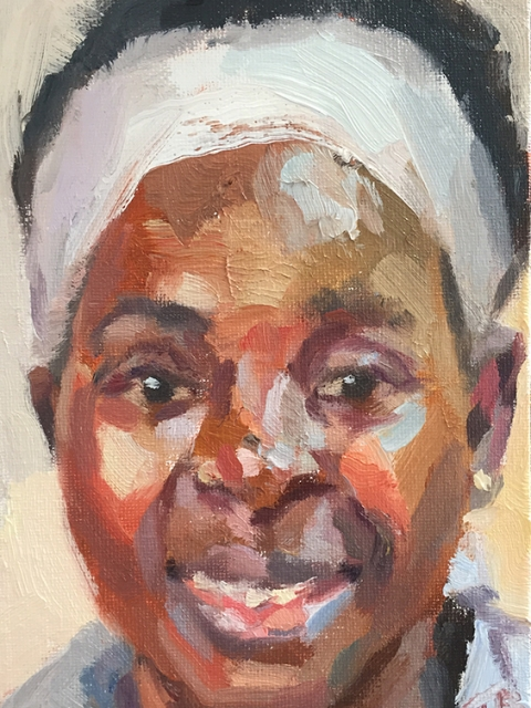 "'Magdalene, nurse, Medical Observation Unit, Connaught Hospital, Ebola survivor', oil on canvas board, 7""x5"""
