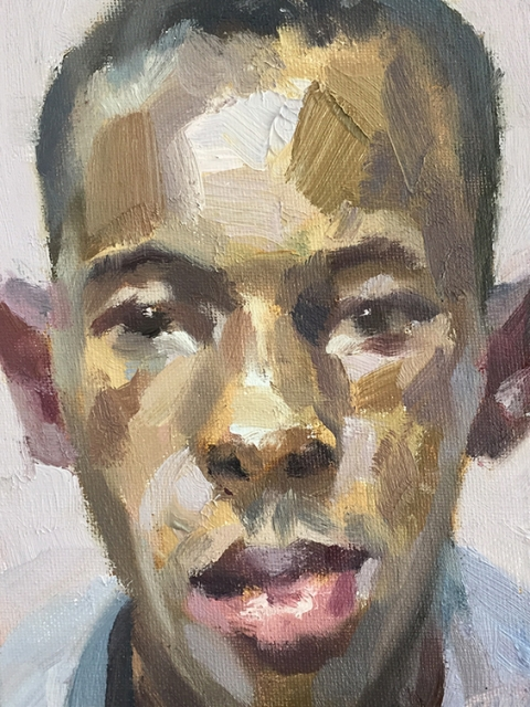 "'Benjamin, nurse, Isolation Unit, Connaught Hospital', oil on canvas board, 7""x5"""