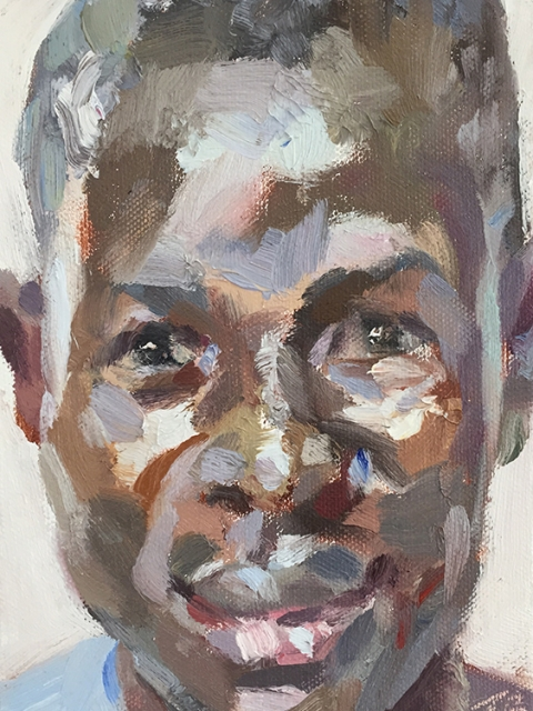 "'Lamin, hygienist, Isolation Unit, Connaught Hospital', oil on canvas board, 7""x5"""