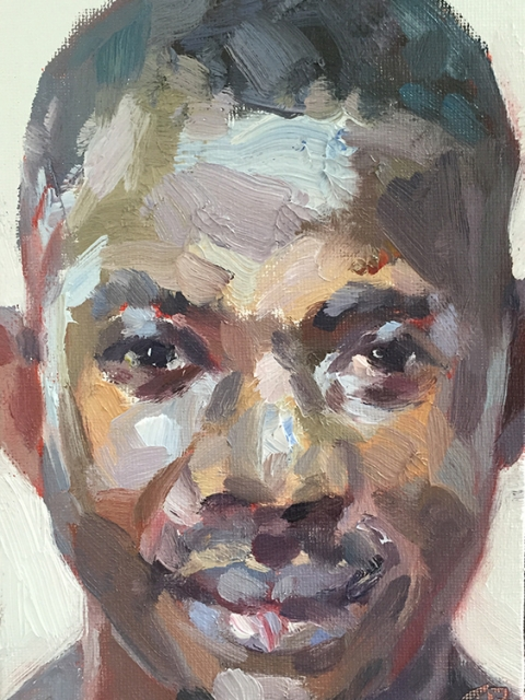 "Ibrahim, hygienist, Connaught Hospital, oil on canvas board, 7""x5"""