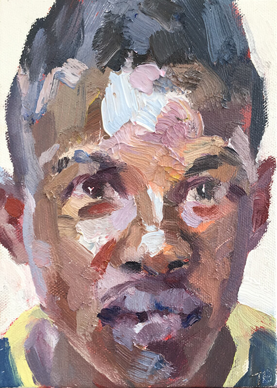 "'Mohamed, hygienist, Isolation Unit, Connaught Hospital', oil on canvas board, 7""x5"""