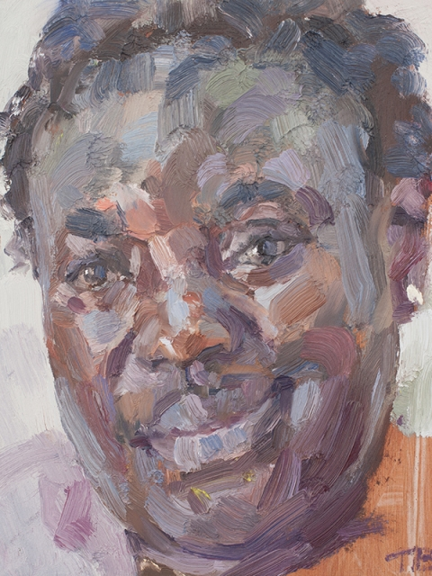 "'Patricia, nurse, Isolation Unit, Connaught Hospital, Ebola survivor', oil on board, 12""x10"""