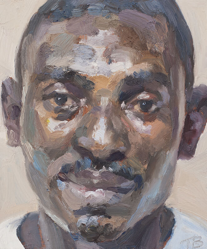 "'William, nurse, Isolation Unit, Connaught Hospital', oil on board, 12""x10"""