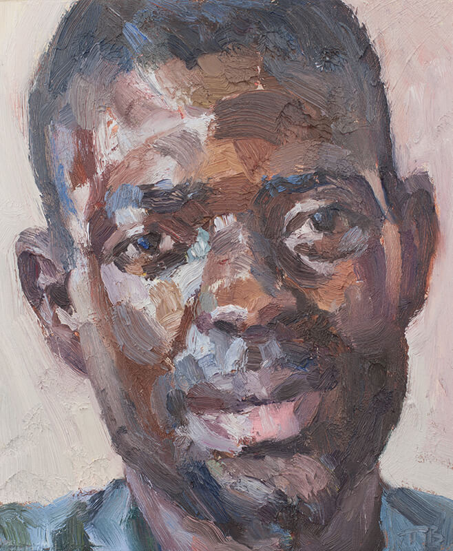 "'Abubakarr, nurse, Isolation Unit, Connaught Hospital', oil on board, 12""x10"""