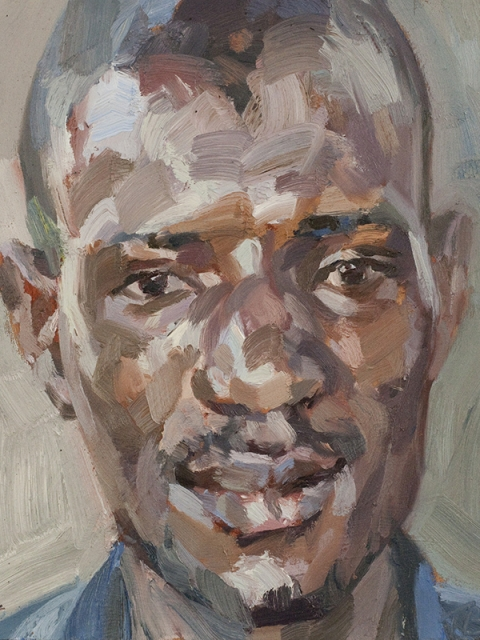 "'Sorie, nurse, Isolation Unit, Connaught Hospital, Ebola survivor', oil on board, 12""x10"""