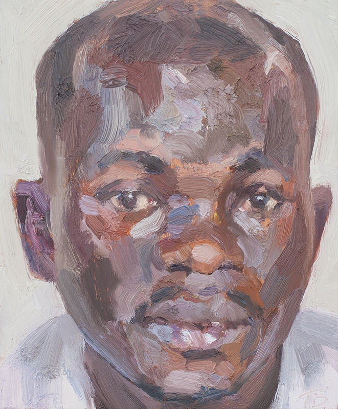 "'Yusif, Ebola survivor', oil on board, 12""x10"""
