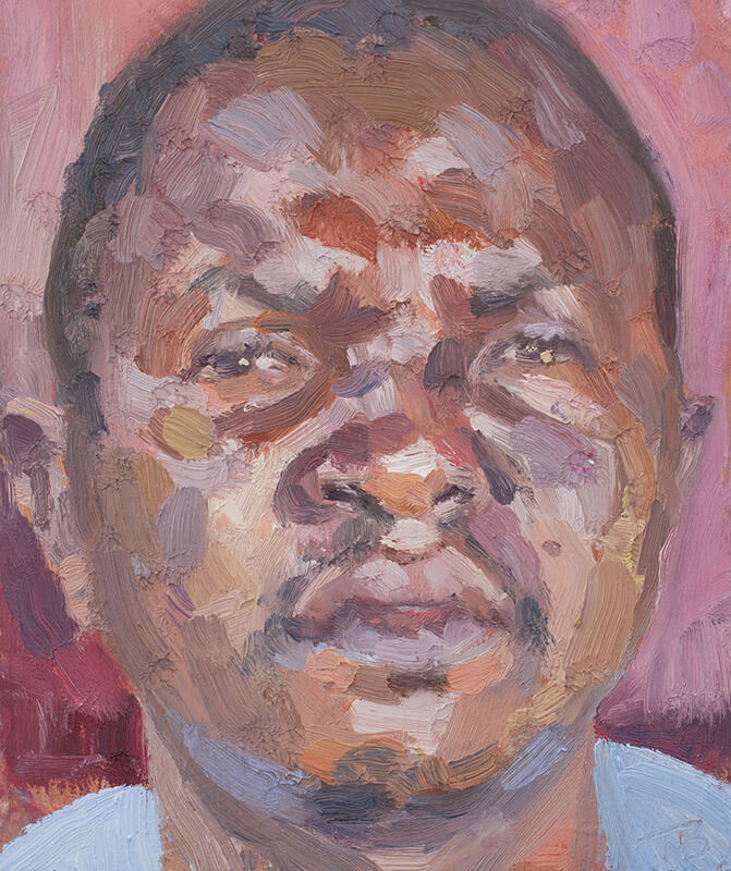 "'Mohammed, burial team leader', oil on board, 12""x10"""