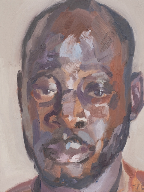 "'Abdul, cemetery keeper, King Tom Cemetery', oil on board, 12""x10"""