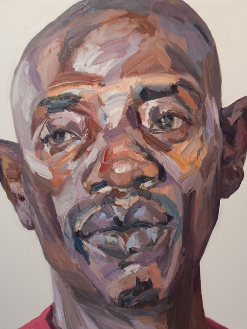 "'Abdulai, security officer, Isolation Unit, Connaught Hospital, Ebola survivor', oil on canvas, 60""x48"""