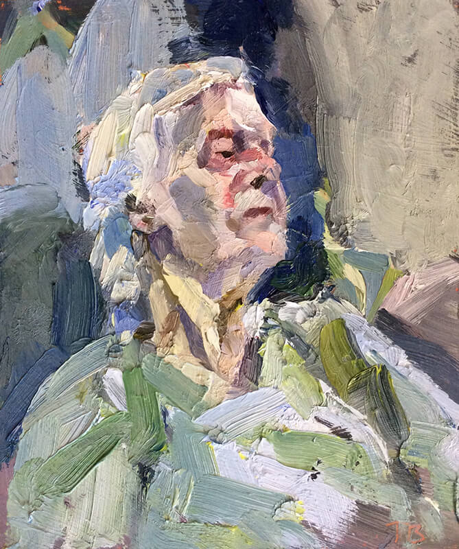 "'Old lady', oil on board, 12""x10"""