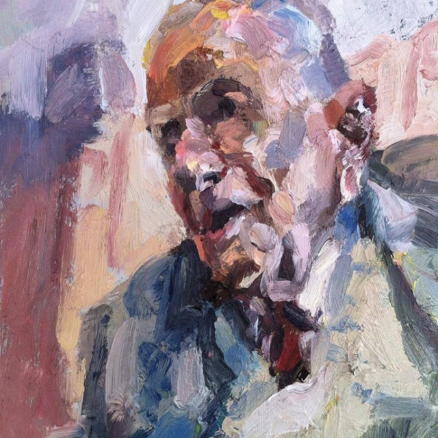 "'Old man', oil on board, 12""x10"""