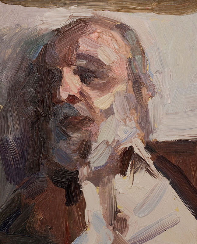 "'Old man reclining', oil on board, 8""x5"""