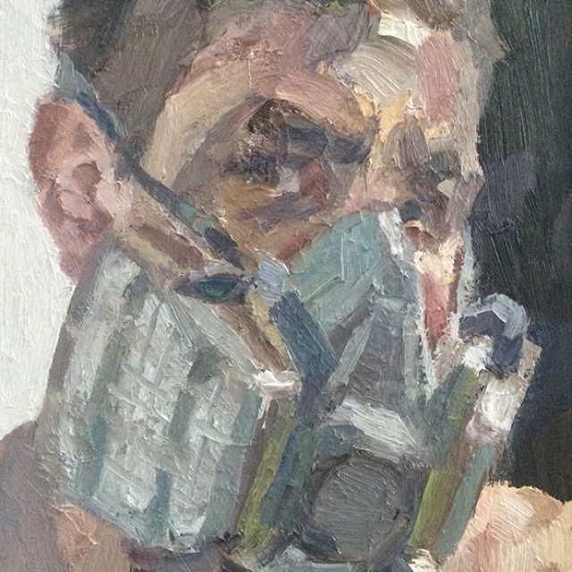 "'Self portrait with gas mask', oil on board, 14""x12"""