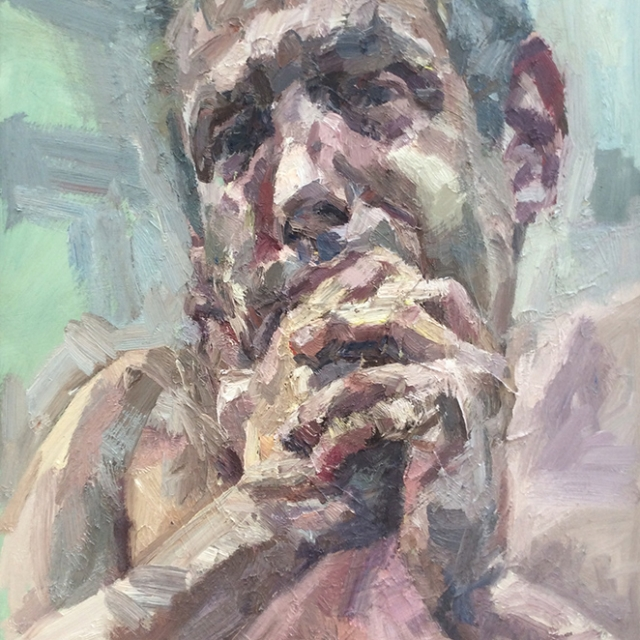"Selfie with hands, oil on canvas, 28""x24"""