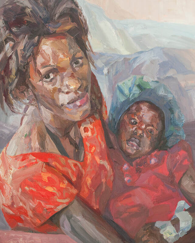 "Baby Grace and Sharon, oil on canvas, 60"" x 48"""