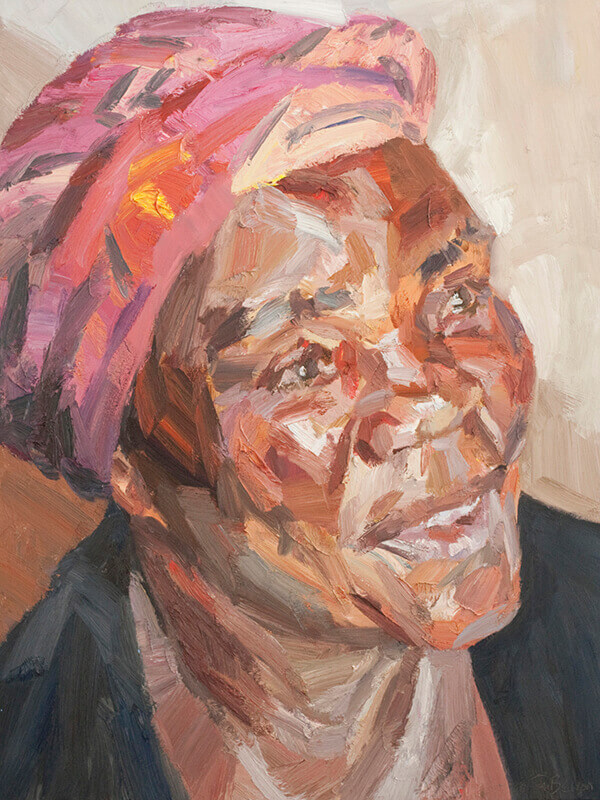"Ene, traditional healer, oil on canvas, 48"" x 36"""