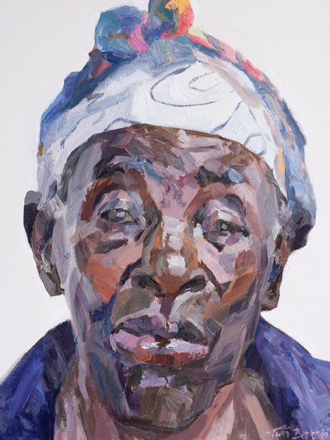 "Eneless, cataract patient, oil on canvas, 48"" x 36"""
