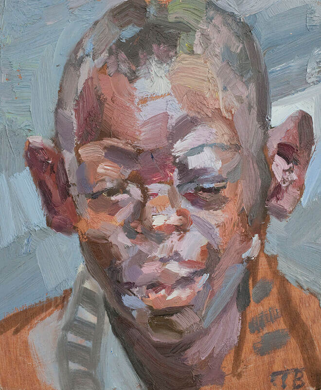 "Hagai, oil on board, 12"" x 10"""