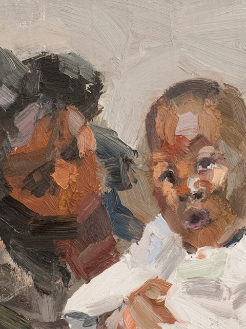 "Mother and child, oil on board, 10"" x 12"""