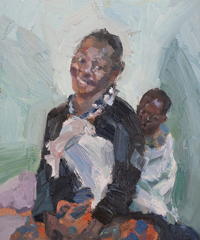 "Mother with her baby in a sling, oil on board, 12"" x 10"""