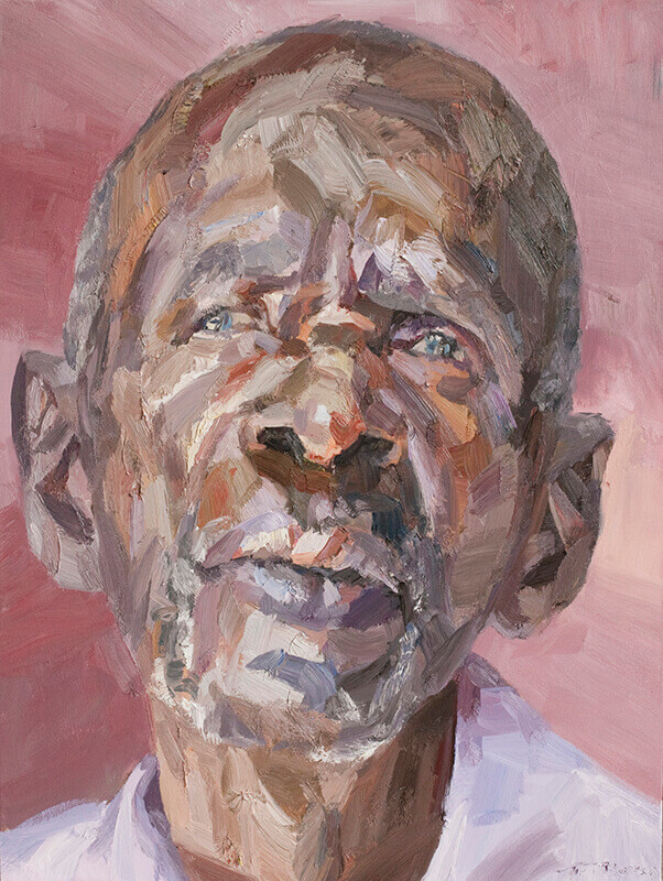 "Mwanza, cataract patient, oil on canvas, 48"" x 36"""