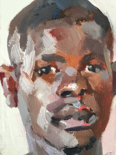 """'Alimamy, hygienist, Isolation Unit,Connaught Hospital', oil on canvas board, 7""""x5"""""""