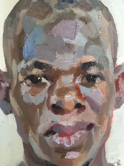 """'Mohamed, district surveillance officer, Connaught Hospital', oil on canvas board, 7""""x5"""""""
