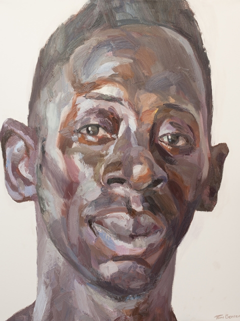 """'Hassan, cleaner, Isolation Unit, Connaught Hospital', oil on canvas, 60""""x48"""""""
