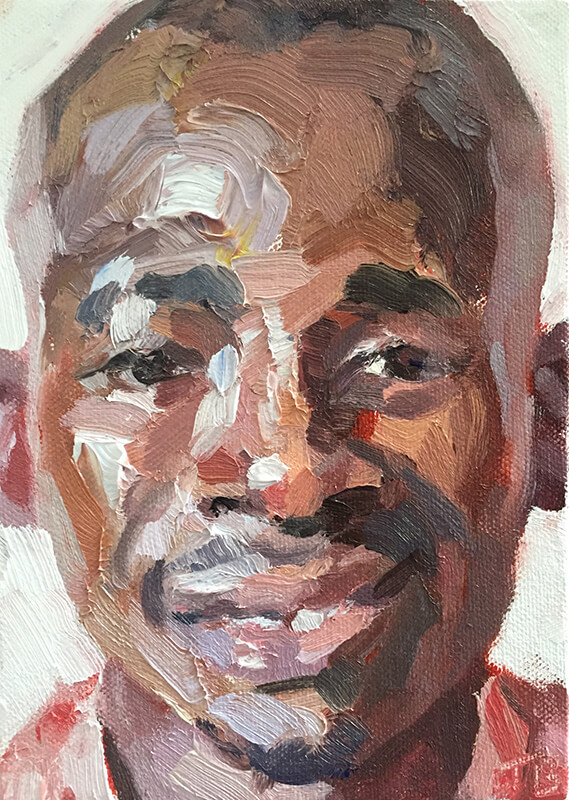 """'Moses, surveillance officer, Isolation Unit, Connaught Hospital', oil on canvas board, 7""""x5"""""""