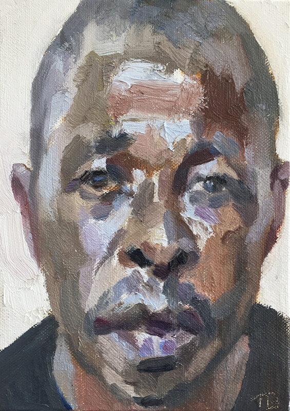 """'Mohamed, incinerator, Connaught Hospital', oil on canvas board, 7""""x5"""""""