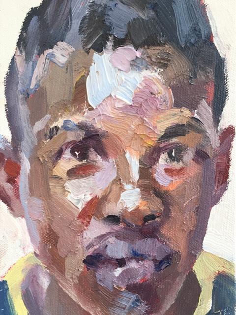 """'Mohamed, hygienist, Isolation Unit, Connaught Hospital', oil on canvas board, 7""""x5"""""""