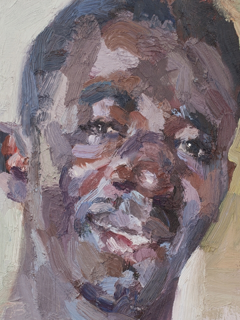 """'Alfred, security officer, Isolation Unit, Connaught Hospital, Ebola survivor', oil on board, 12""""x10"""""""