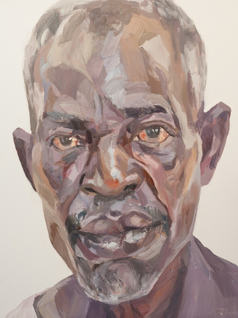 """'Ibrahim, security officer, Isolation Unit, Connaught Hospital', oil on canvas, 60""""x48"""""""