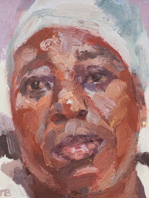 """'Sister Cecilia, Accident & Emergency, Connaught Hospital', oil on board, 12""""x10"""""""
