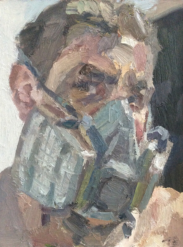 """'Self portrait with gas mask', oil on board, 14""""x12"""""""