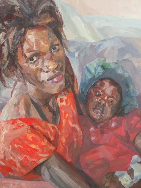 """Baby Grace and Sharon, oil on canvas, 60"""" x 48"""""""