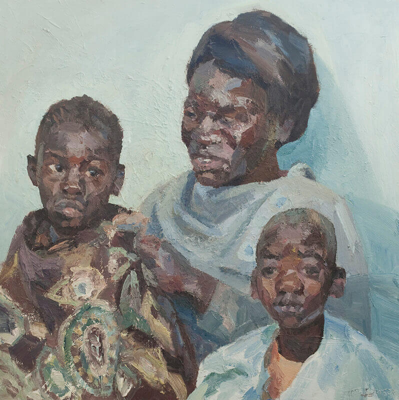 """Bridget and her daughter Shekinah wait for surgery. oil on canvas, 48"""" x 48"""""""