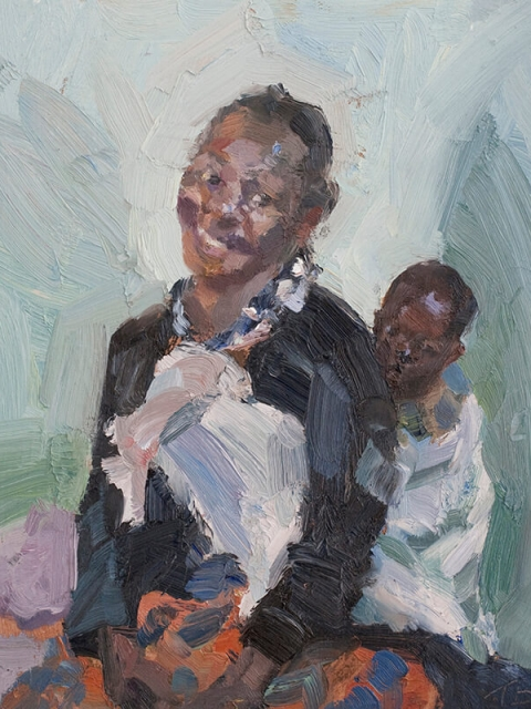 """Mother with her baby in a sling, oil on board, 12"""" x 10"""""""