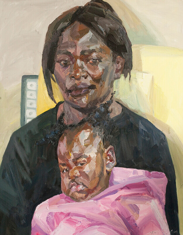 """Mother and child, examination room, oil on canvas, 60"""" x 48"""""""